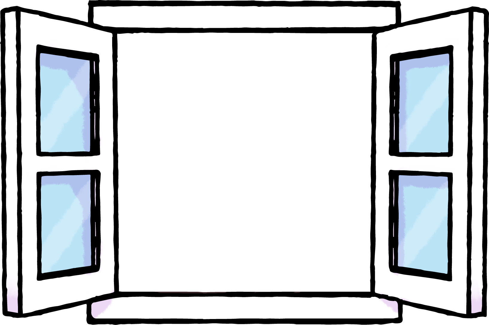 開いた窓のフレームイラスト素材・中透過 | かわいい無料イラスト素材