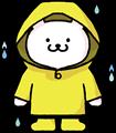雨の中、レインコートと長靴姿のくまさんイラスト素材