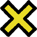 黄色の×マークイラスト素材透過png