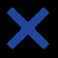 青色の×マーク立体影付きイラスト素材透過png