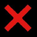 赤色の×マーク立体影付きイラスト素材透過png