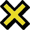 黄色の×マーク立体影付きイラスト素材透過png