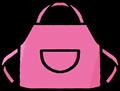 女子、女性向けかわいいピンクのエプロンのイラスト素材透過png