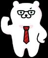 赤いネクタイで熱血風任せろポーズのくまさんのイラスト素材透過png