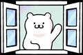 白い窓から挨拶しているイラスト素材