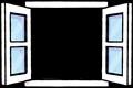 開いた白い窓、中が透過してあるフレームイラスト素材