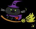 ホウキに乗って空を飛ぶ魔女っ娘黒猫のイラスト素材透過png