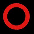 赤色の○マーク立体影付きイラスト素材透過png