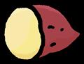 半分に切ってある薩摩芋のイラスト素材透過png