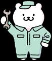 青系作業服を着た作業員・整備士くまさんのイラスト素材透過png
