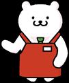 暖色(赤・橙・エンジ色)のエプロン姿の店長くまのイラスト素材透過png