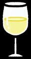 白ワインのグラスのイラスト素材透過png