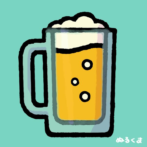 ビールジョッキに入った生ビールのイラスト素材