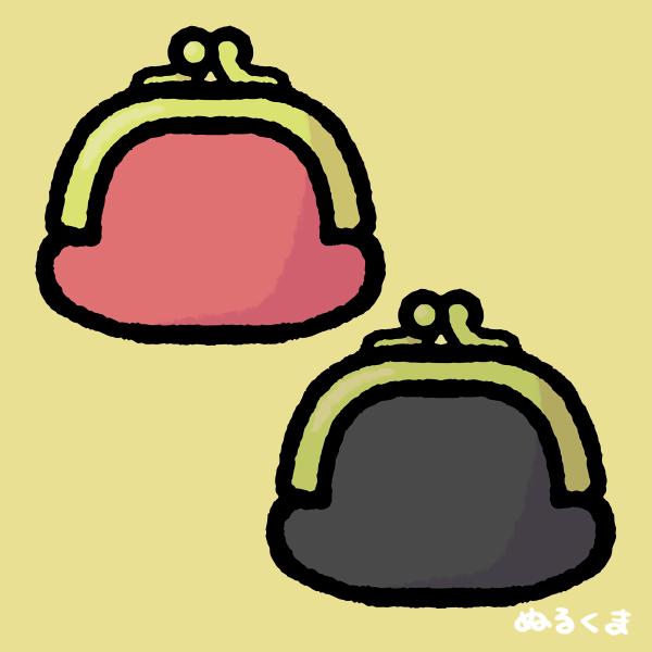 赤色と黒色のがま口財布のイラスト素材
