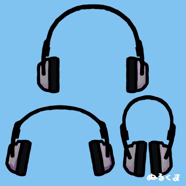 3パターンのヘッドホンのイラスト素材