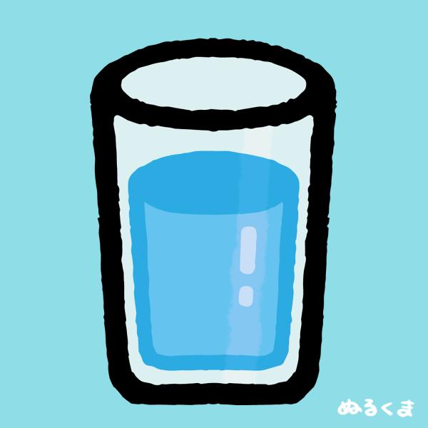 コップに入った水の背景色付きイラスト素材