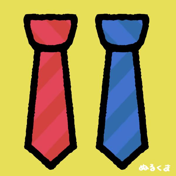 赤と青のネクタイのイラスト素材