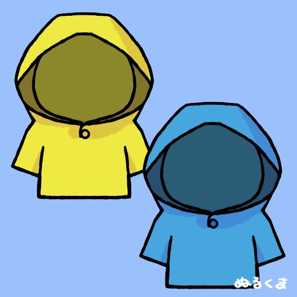 黄色と空色のレインコートのイラスト素材
