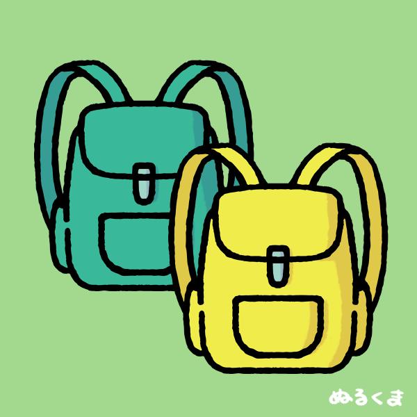 色違い(緑色と黄色)のリュックサックのイラスト