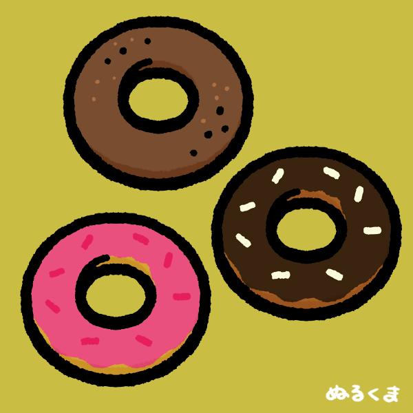 ドーナッツ(オーソドックス、ストロベリーコーティング、チョコレートコーティング)のイラスト素材