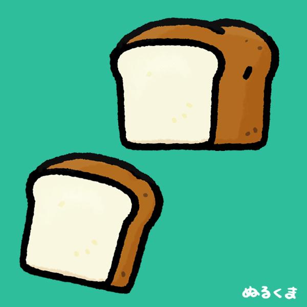 一切れの食パンと一斤○○の食パンのイラスト素材