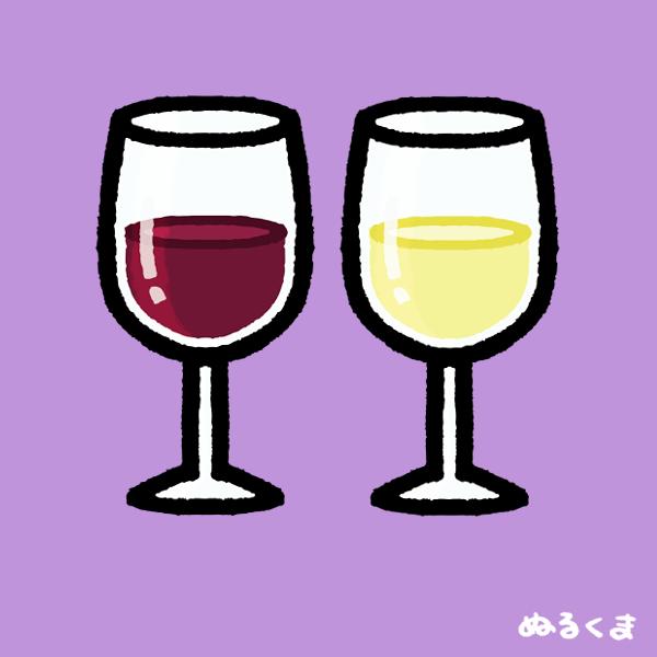 グラスに注いである赤ワイン白ワイン、空のワイングラスのイラスト素材